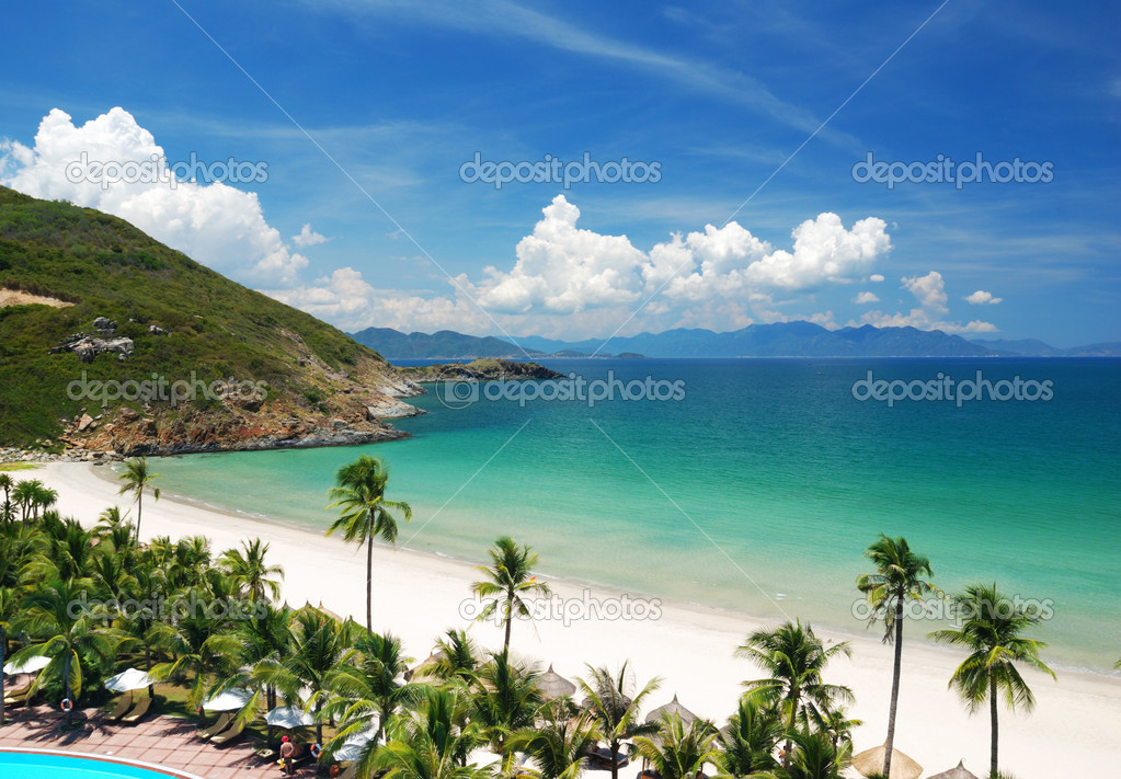 Beach Scene, Tropics, Pacific ocean — Stock Photo #1624514