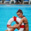 Girl with buoy — Stock Photo