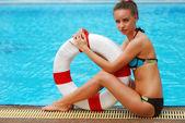 Girl with buoy — Stock Photo