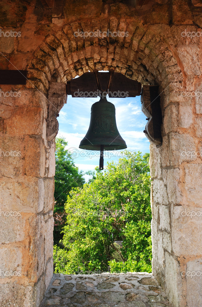 Bell in old colonial church — Stock Photo #1707628