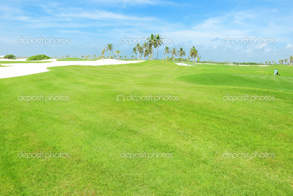 Golf field in nice clear day — Stock Photo #1728724