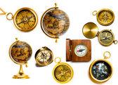 Kompassen en globes — Stockfoto
