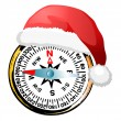 Stock Vector: Compass in Santa's hat