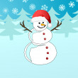 Snowman in Santa&#039;s hat - Imagen vectorial