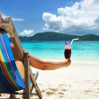 Girl with tropical cocktail — Stock Photo
