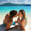 Kiss on a beach — Foto Stock