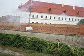 Gun volley in the medieval deputy. Ukrai — Stock Photo