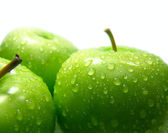 Three green apples — Stock Photo