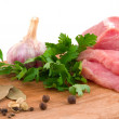 Stock Photo: Raw meat and spice