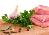 Raw meat and spice — Stock Photo
