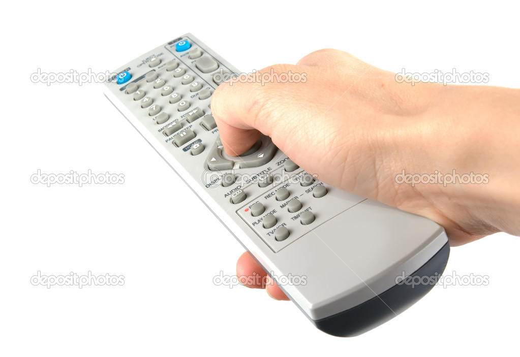 Isolated hand holding remote control. White background — Stock Photo #1351158