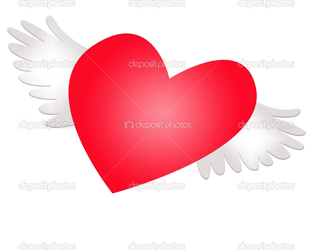 Red heart with wings. Separately on a white background — Stock Photo #1221491