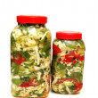 Two jars with pickles isolated on white — Stock Photo