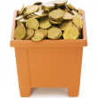 Many coins in the clay pot on white — Stock Photo