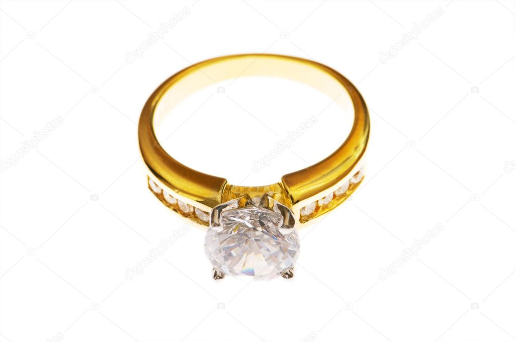 Golden ring with  diamond isolated on the white — Stock Photo #1244112