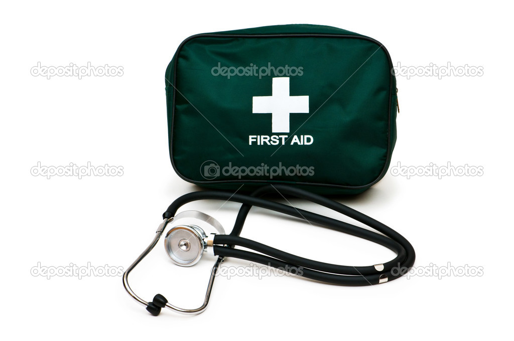 First aid kit and stethoscope isolated on the white — Stock Photo #1245002