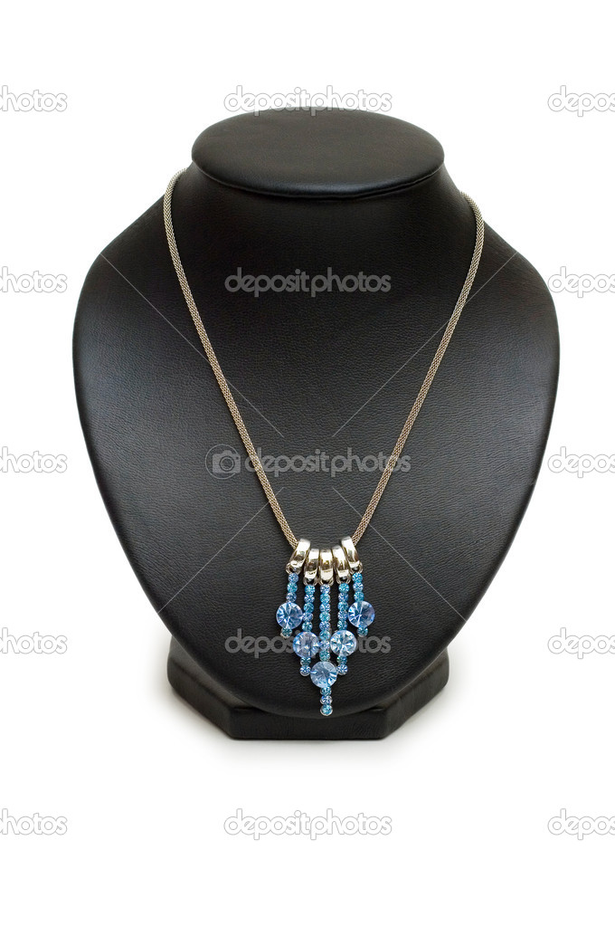 Necklace with blue stones isolated on the white  Stock Photo #1245338