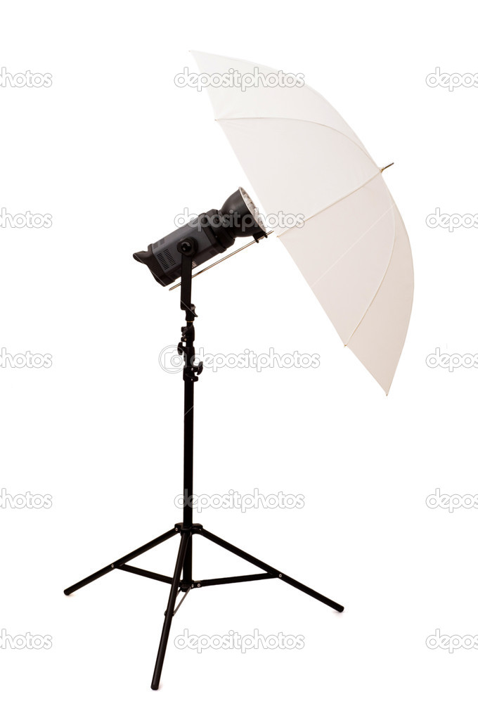 Studio umbrella isolated on the white background — Lizenzfreies Foto #1245430