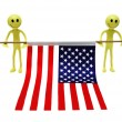 Royalty-Free Stock Photo: Two smilies holding US flag