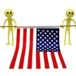 Two smilies holding US flag — Stock Photo