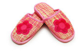 Pair of pink slippers isolated on white — Stock Photo