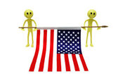 Two smilies holding US flag — Stock Photo