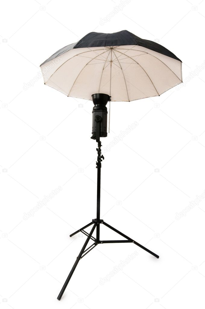 Black studio umbrella isolated on the white — Stock Photo #1251245