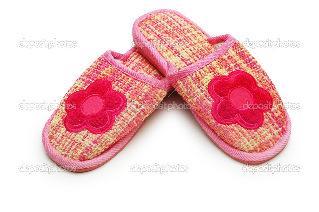 Pair of pink slippers isolated on white  Stock Photo #1251274