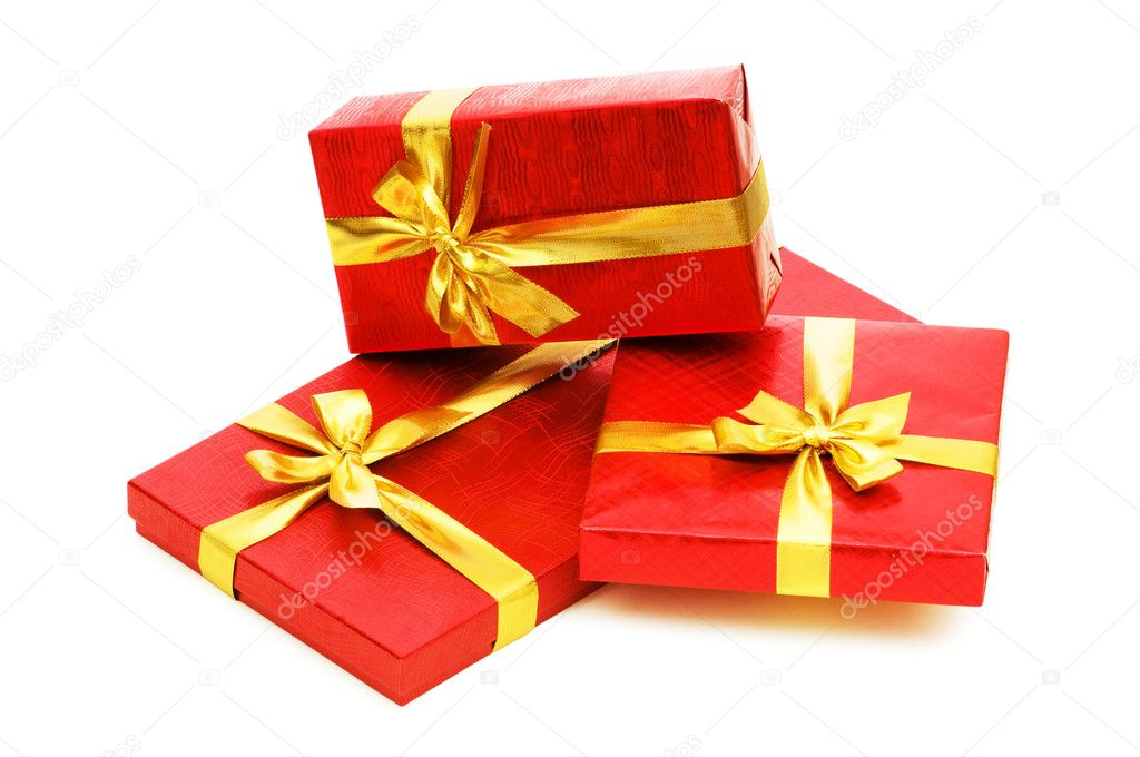 Gift boxes isolated on the white background — Stock Photo #1251452