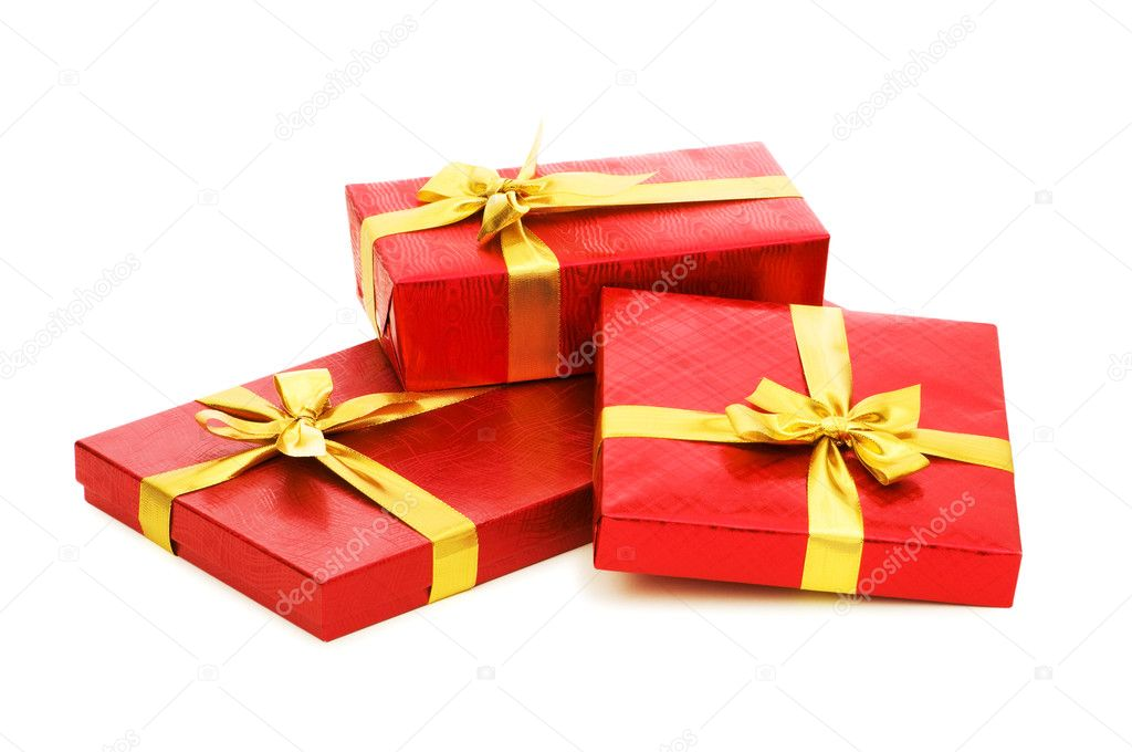 Gift boxes isolated on the white background — Stock Photo #1251474
