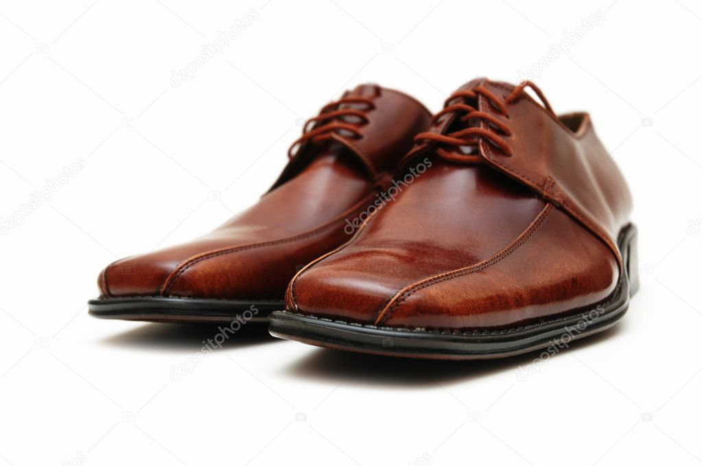 Brown male  shoes isolated on the white — Stock Photo #1252874