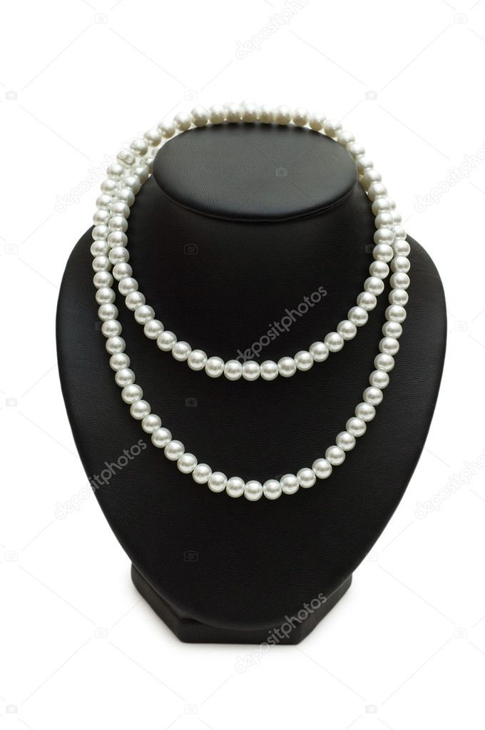 Pearl necklace isolated on the white background — Stock Photo #1253675