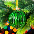 Christmas decoration and blurred lights - Stock Photo