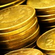 Close up of the golden coin stacks — Stock Photo #1632101