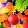 Christmas decoration and blurred lights — Stock Photo #1633972
