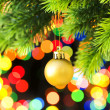 Christmas decoration and blurred lights — Stock Photo