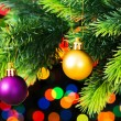 Stock Photo: Christmas decoration and blurred lights
