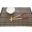 Royalty-Free Stock Photo: Chopsticks and plate on the bamboo mat