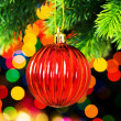 Christmas decoration and blurred lights — Stock Photo #1634646