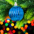Christmas decoration and blurred lights — Stock Photo #1634657