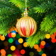 Christmas decoration and blurred lights — Stock Photo #1634659