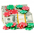 Dollar and casino chip stacks — Stock Photo #1636060