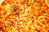 Close up of pizza background — Stock Photo