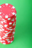 Stack of red casino chips — Stock Photo