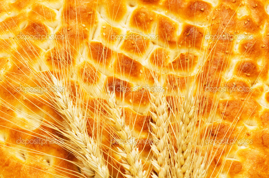 Nutrition concept with fresh bread and wheat ears — Stock Photo #1634269