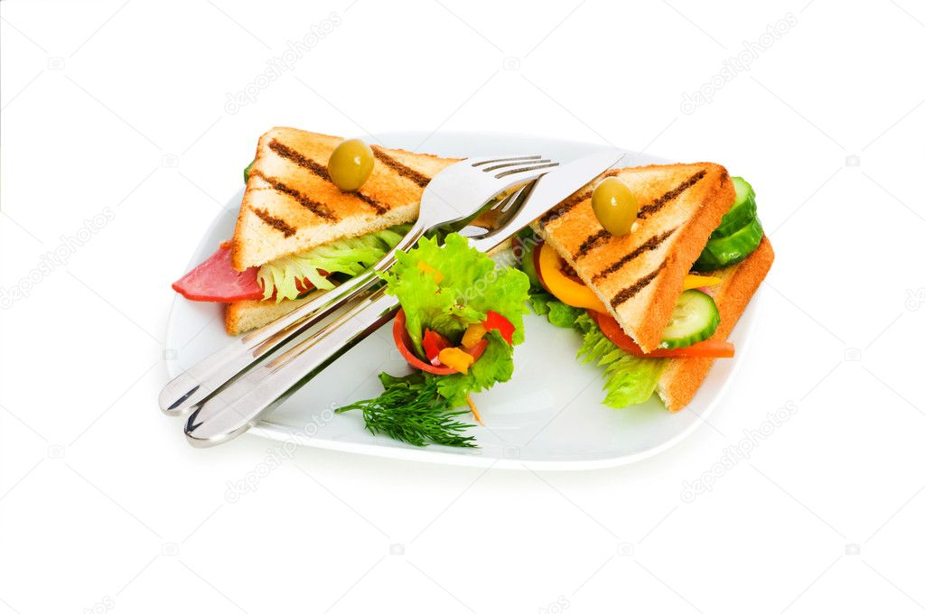 Toasted bread with filling isolated on the white — Stock Photo #1634437