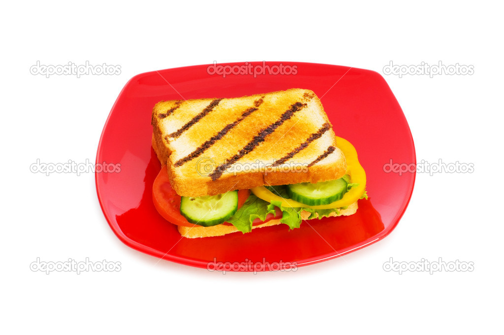 Toasted bread with filling isolated on the white — Stock Photo #1636147