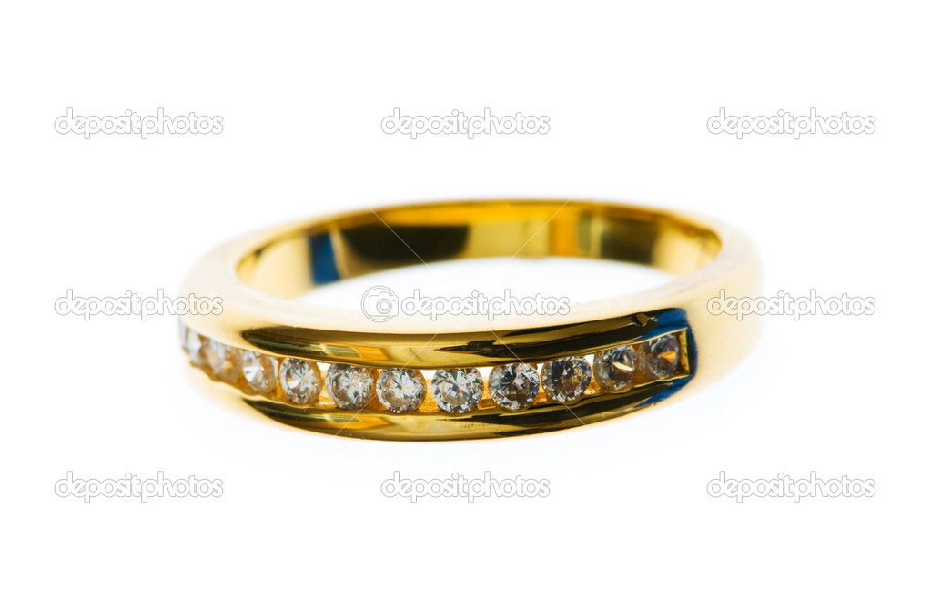 Golden ring with  diamond isolated on the white — Stock Photo #1843657