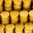 Pile of golden  coins isolated — Foto Stock