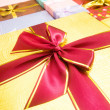 Close up of gift box with ribbon — Stock Photo